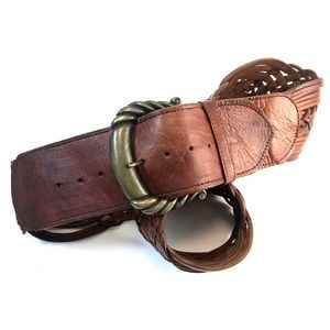 "Saddle 3"" XL Woven Leather Belt with Brass Buckle"